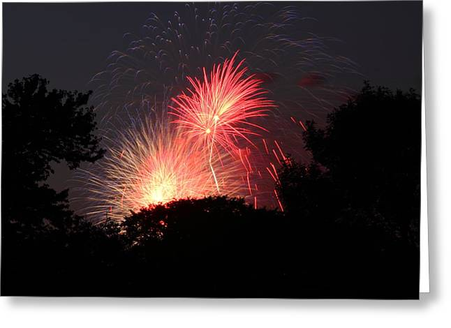 Party Greeting Cards - 4th of July Fireworks - 01131 Greeting Card by DC Photographer