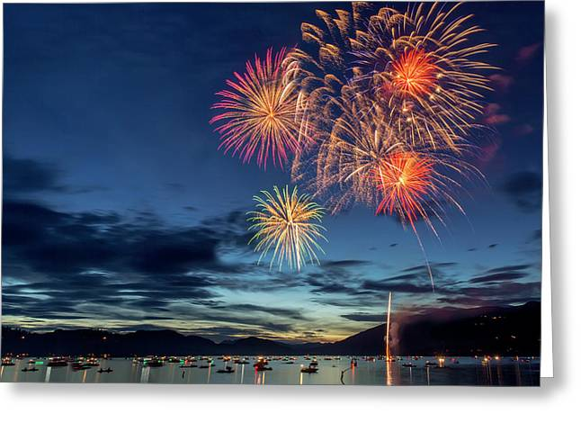 4th Of July Fireworks Celebration Greeting Card by Chuck Haney