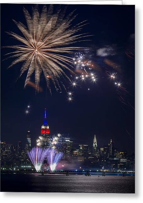 4th Digital Art Greeting Cards - 4th of July fireworks Greeting Card by Eduard Moldoveanu