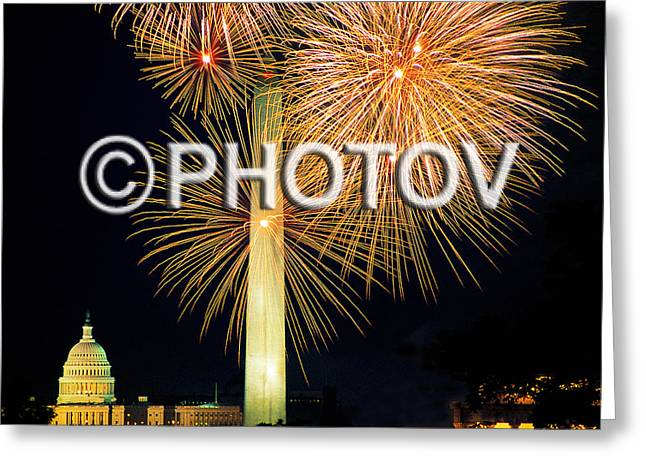 4th Of July Fireworks Over Washington Dc Greeting Card by Hisham Ibrahim