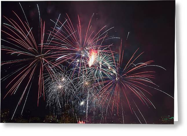 4th July Photographs Greeting Cards - 4th of July Fireworks Portland Oregon 2013 Greeting Card by JPLDesigns