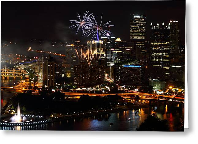 July Fourth Greeting Cards - 4th of July Firworks in Pittsburgh Greeting Card by Jetson Nguyen