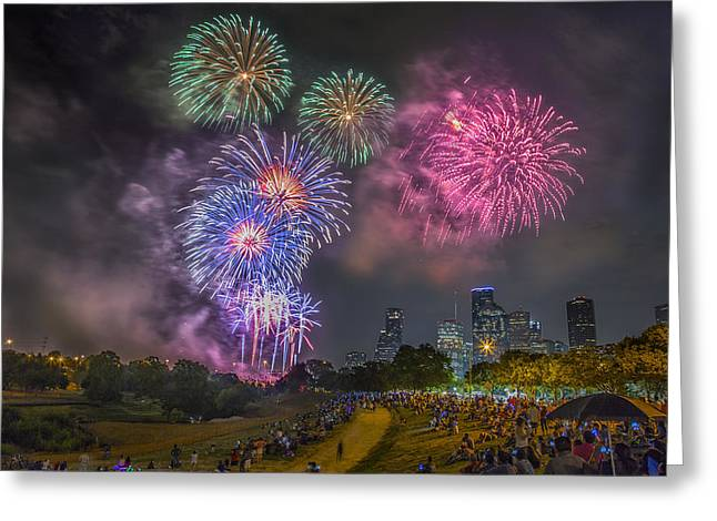 Goff Greeting Cards - 4th of July in Houston Texas Greeting Card by Micah Goff