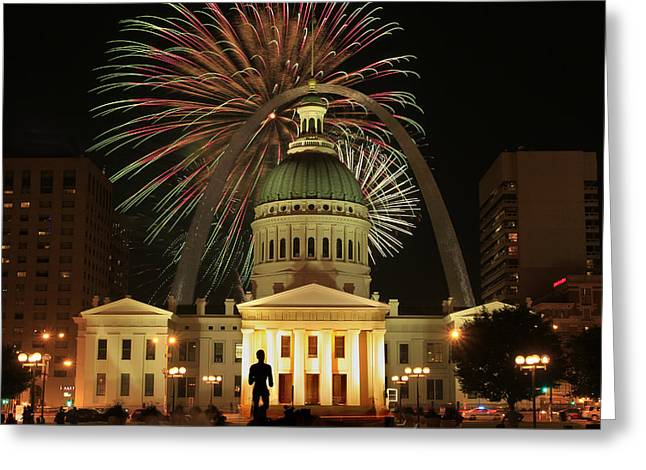 Stainless Steel Greeting Cards - 4th of July St Louis style Greeting Card by Garry McMichael