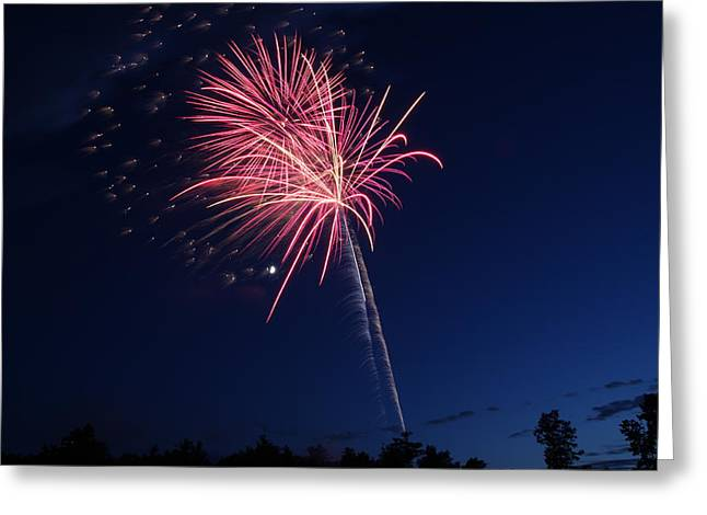 Independance Day Greeting Cards - 4th of JulyFireworks Colechester VT Greeting Card by Barretreasures Photography