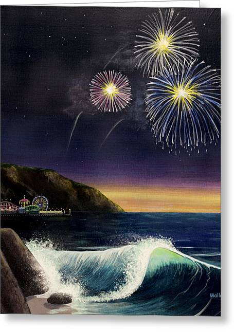4th July Paintings Greeting Cards - 4th on the Shore Greeting Card by Jack Malloch