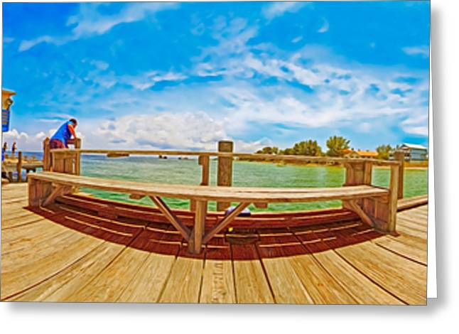 Anna Maria Island Greeting Cards - 4X1 Anna Maria Island Rod And Reel Pier Greeting Card by Rolf Bertram