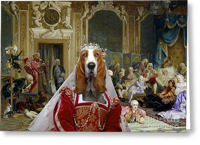 Basset Hound Prints Greeting Cards -  Basset Hound Art Canvas Print Greeting Card by Sandra Sij