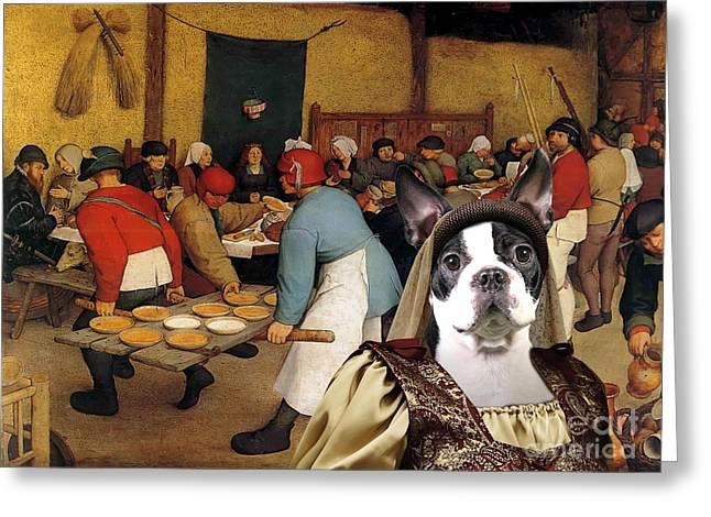 Boston Terrier Posters Greeting Cards -  Boston Terrier Art Canvas Print Greeting Card by Sandra Sij