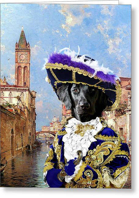 Retriever Prints Greeting Cards -  Flat Coated Retriever Art Canvas Print Greeting Card by Sandra Sij