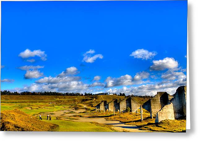 Us Open Greeting Cards - #18 at Chambers Bay Golf Course  Greeting Card by David Patterson