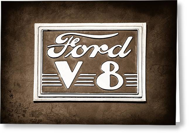 Ford V8 Greeting Cards - 1940 Ford Deluxe Coupe Emblem Greeting Card by Jill Reger