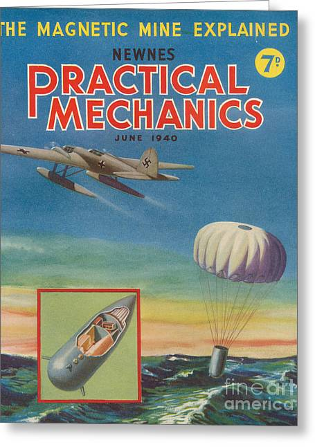 Mechanics Drawings Greeting Cards - 1940s Uk Practical Mechanics Magazine Greeting Card by The Advertising Archives