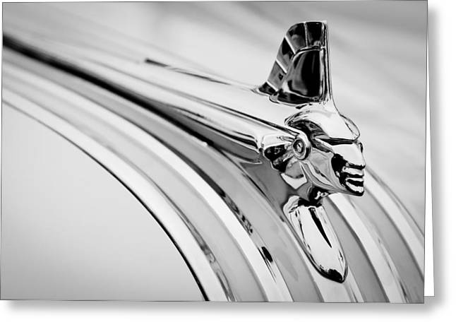 1951 Photographs Greeting Cards - 1951 Pontiac Streamliner Hood Ornament Greeting Card by Jill Reger
