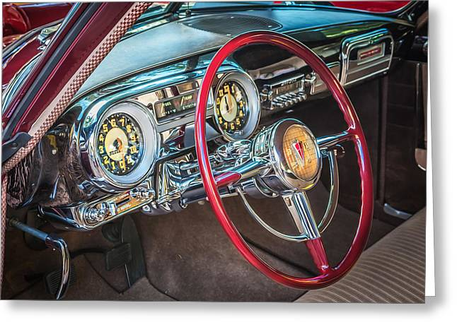 Power Twins Photographs Greeting Cards - 1952 Hudson Hornet 4 door Sedan Twin H Power painted  Greeting Card by Rich Franco