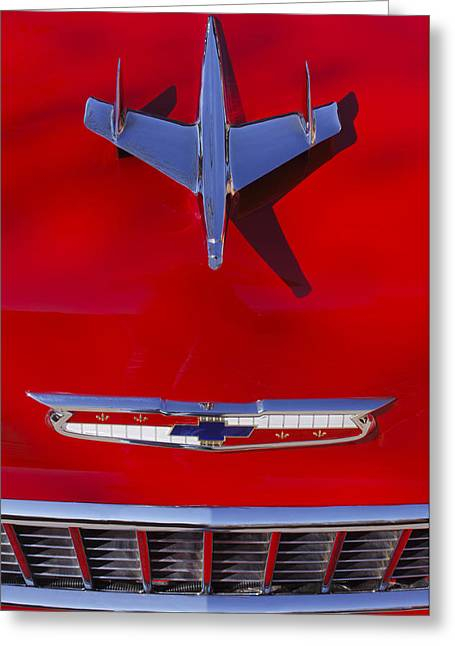 Ornaments Greeting Cards - 1955 Chevrolet Belair Nomad Hood Ornament Greeting Card by Jill Reger