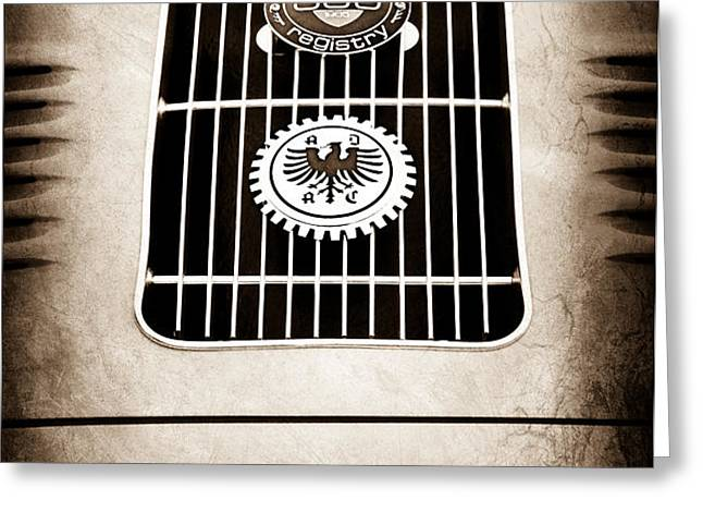1960 Volkswagen VW Porsche 356 Carrera GS GT Replica Emblem Greeting Card by Jill Reger