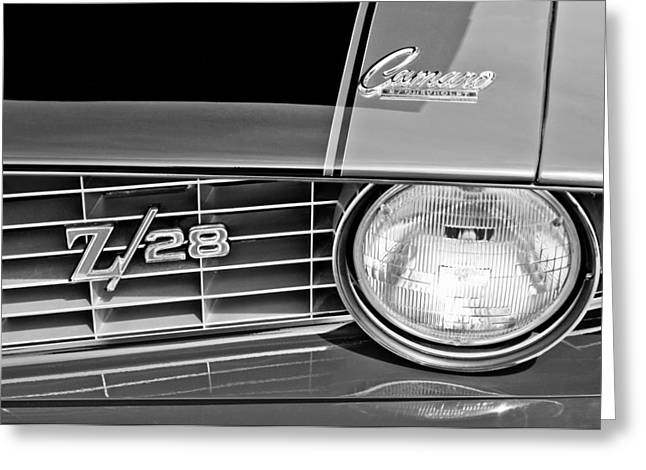 1969 Greeting Cards - 1969 Chevrolet Camaro Z 28 Grille Emblem Greeting Card by Jill Reger