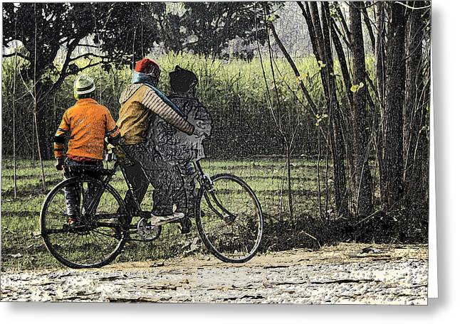 India Greeting Cards - 3 Young Children On A Cycle At The Side Of The Road Greeting Card by Ashish Agarwal