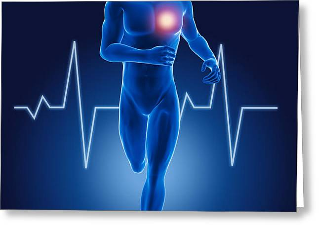 3D running medical man Greeting Card by Kirsty Pargeter