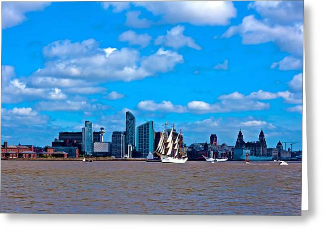 Abstract Digital Mixed Media Greeting Cards - A digitally constructed painting of a tall ships on the River Mersey Liverpool UK Greeting Card by Ken Biggs