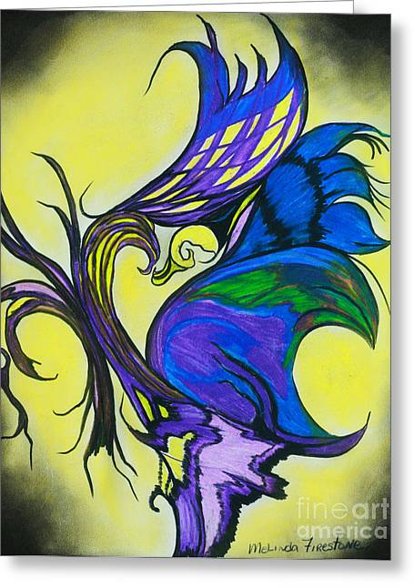 Glowing Pastels Greeting Cards - Abstract Butterfly Greeting Card by Melinda Firestone-White