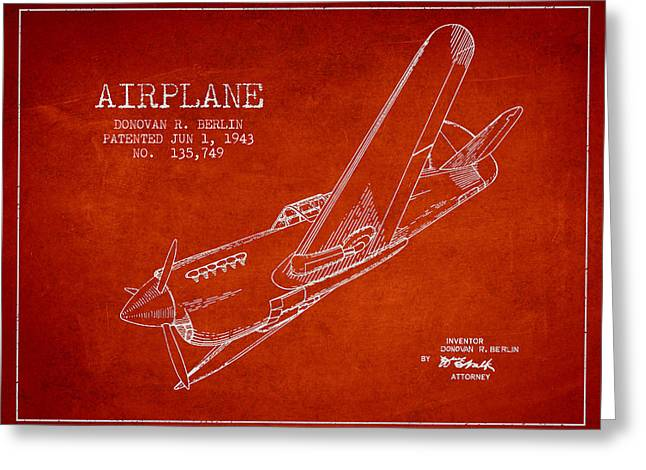 Airplane Greeting Cards - Airplane patent Drawing from 1943 Greeting Card by Aged Pixel