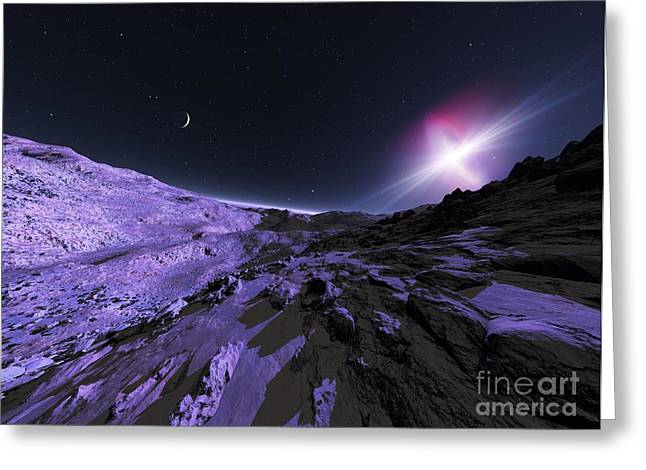 Pulsar Planets Greeting Cards - Alien Lanscape, Artwork Greeting Card by Detlev van Ravenswaay