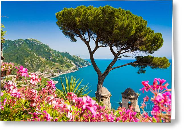 Ocean Panorama Greeting Cards - Amalfi Coast Greeting Card by JR Photography
