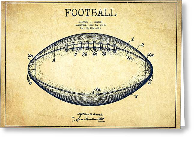 Game Digital Greeting Cards - American Football Patent Drawing from 1939 Greeting Card by Aged Pixel