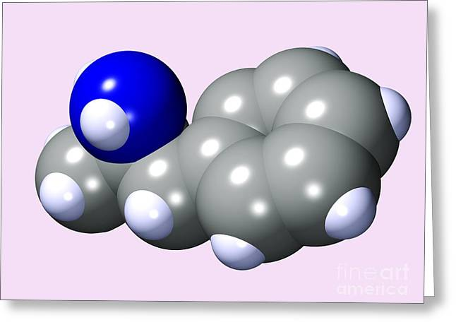 Adhd Greeting Cards - Amphetamine Drug Molecule Greeting Card by Dr. Mark J. Winter