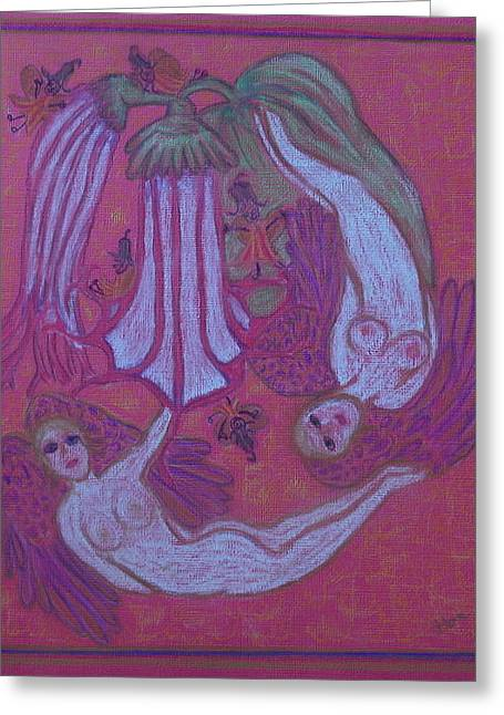 Virgin Mary Pastels Greeting Cards - Angels At Play With The Angels Trumpets Greeting Card by Lyn Blore Dufty