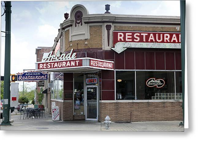 Historic Architecture Greeting Cards - Arcade Restaurant Greeting Card by Karen Cowled