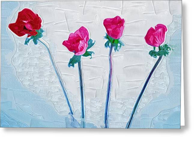 Close Up Paintings Greeting Cards - Art Painting Flowers Greeting Card by Victor Gladkiy