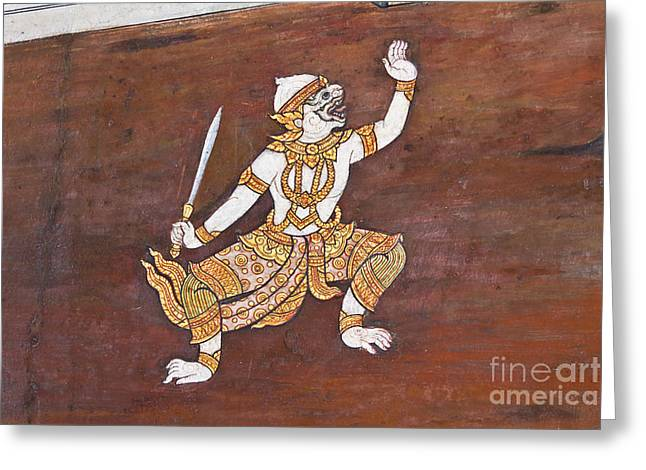 Handwork Greeting Cards - Art thai painting on wall Greeting Card by Tosporn Preede
