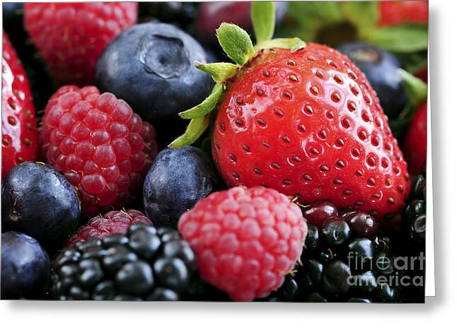Vitamin Greeting Cards - Assorted fresh berries Greeting Card by Elena Elisseeva