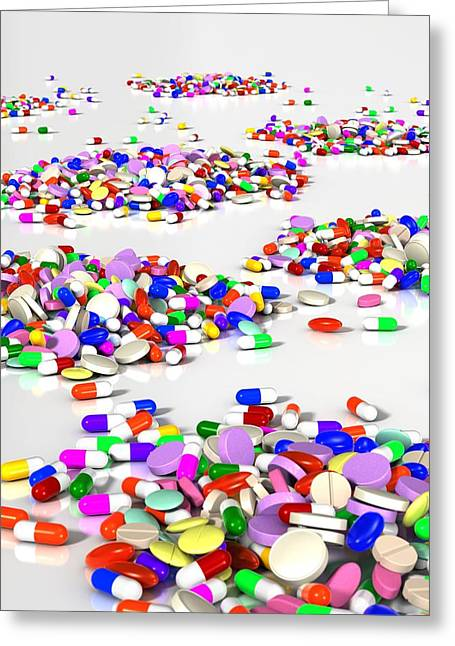 Capsule Greeting Cards - Assorted pills, artwork Greeting Card by Science Photo Library