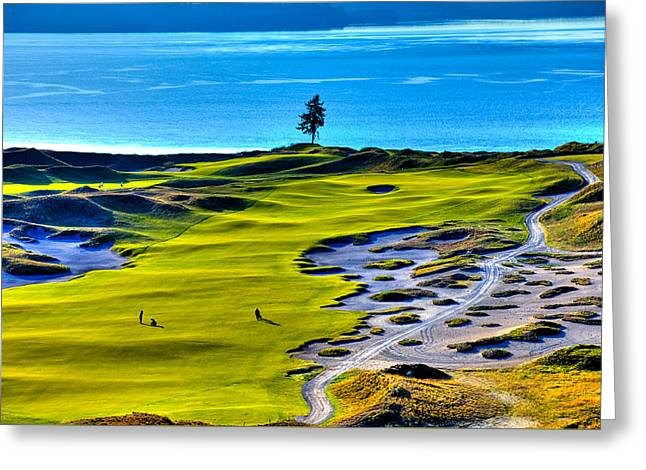 Us Open Golf Greeting Cards - #5 at Chambers Bay Golf Course - Location of the 2015 U.S. Open Tournament Greeting Card by David Patterson