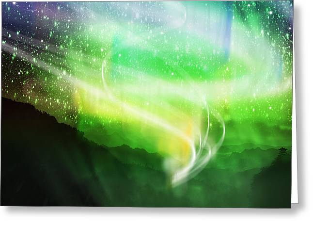 Mysterious Digital Greeting Cards - Aurora Borealis Greeting Card by Setsiri Silapasuwanchai