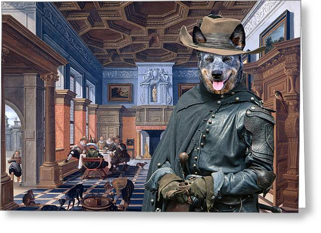Australian Cattle Dog Greeting Cards - Australian Cattle Dog Art Canvas Print Greeting Card by Sandra Sij