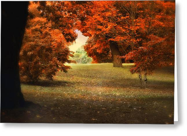 Red Maple Leaves Greeting Cards - Autumn Ablaze Greeting Card by Jessica Jenney