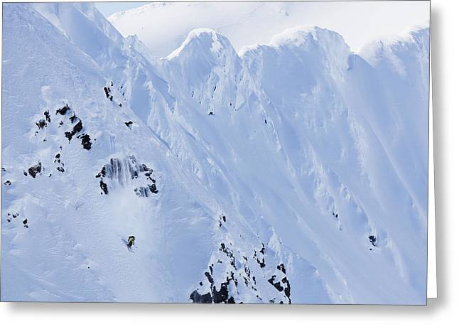 Downhill Skiing Greeting Cards - Backcountry Skiing In The Chugach Greeting Card by Scott Dickerson