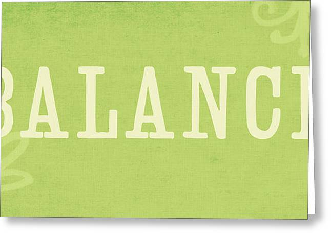 Green Living Greeting Cards - Balance Greeting Card by Linda Woods