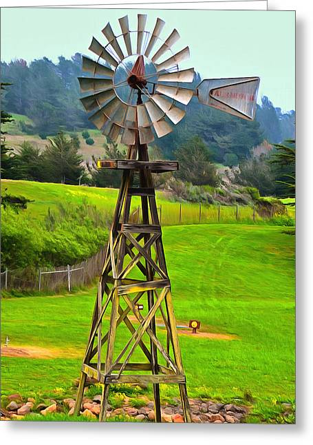Cambria Greeting Cards - Painting San Simeon Pines Windmill Greeting Card by Barbara Snyder