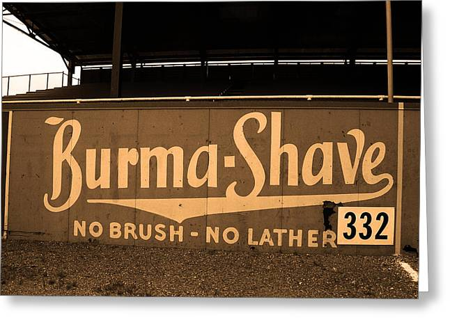 Negro League Greeting Cards - Baseball Field Burma Shave Sign Greeting Card by Frank Romeo