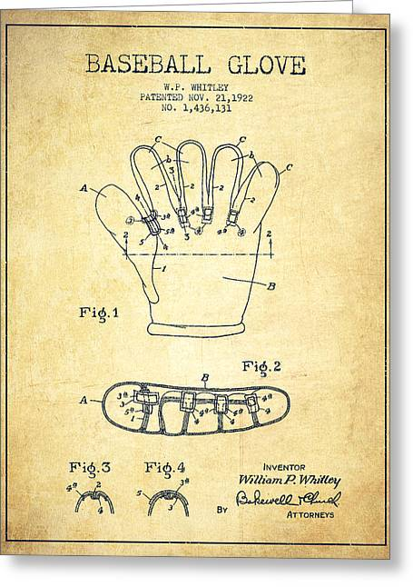 Baseball Glove Greeting Cards - Baseball Glove Patent Drawing From 1922 Greeting Card by Aged Pixel