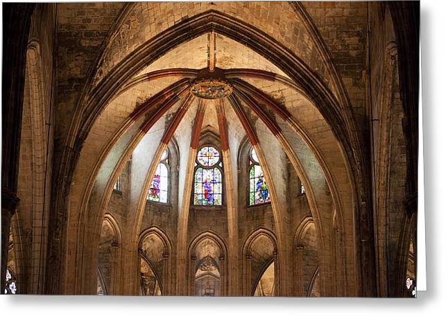 Medieval Temple Greeting Cards - Basilica of Santa Maria del Mar in Barcelona Greeting Card by Artur Bogacki