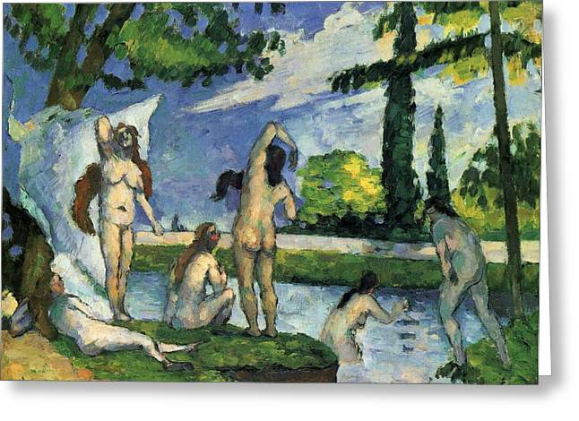 1874 Greeting Cards - Bathers Greeting Card by Paul Cezanne