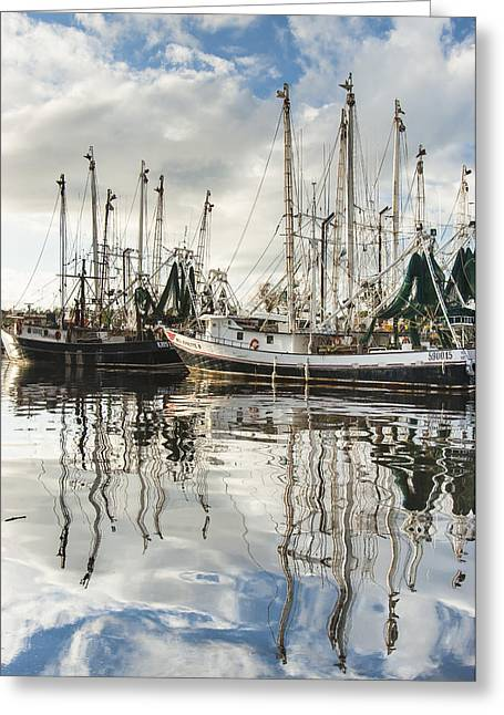 Recently Sold -  - Reflections Of Sky In Water Greeting Cards - Bayou LaBatre AL Shrimp Boat Reflections Greeting Card by Jay Blackburn