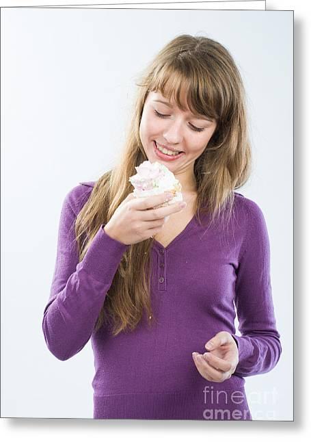 Degustation Greeting Cards - Beautiful girl with candy Greeting Card by Nikita Buida